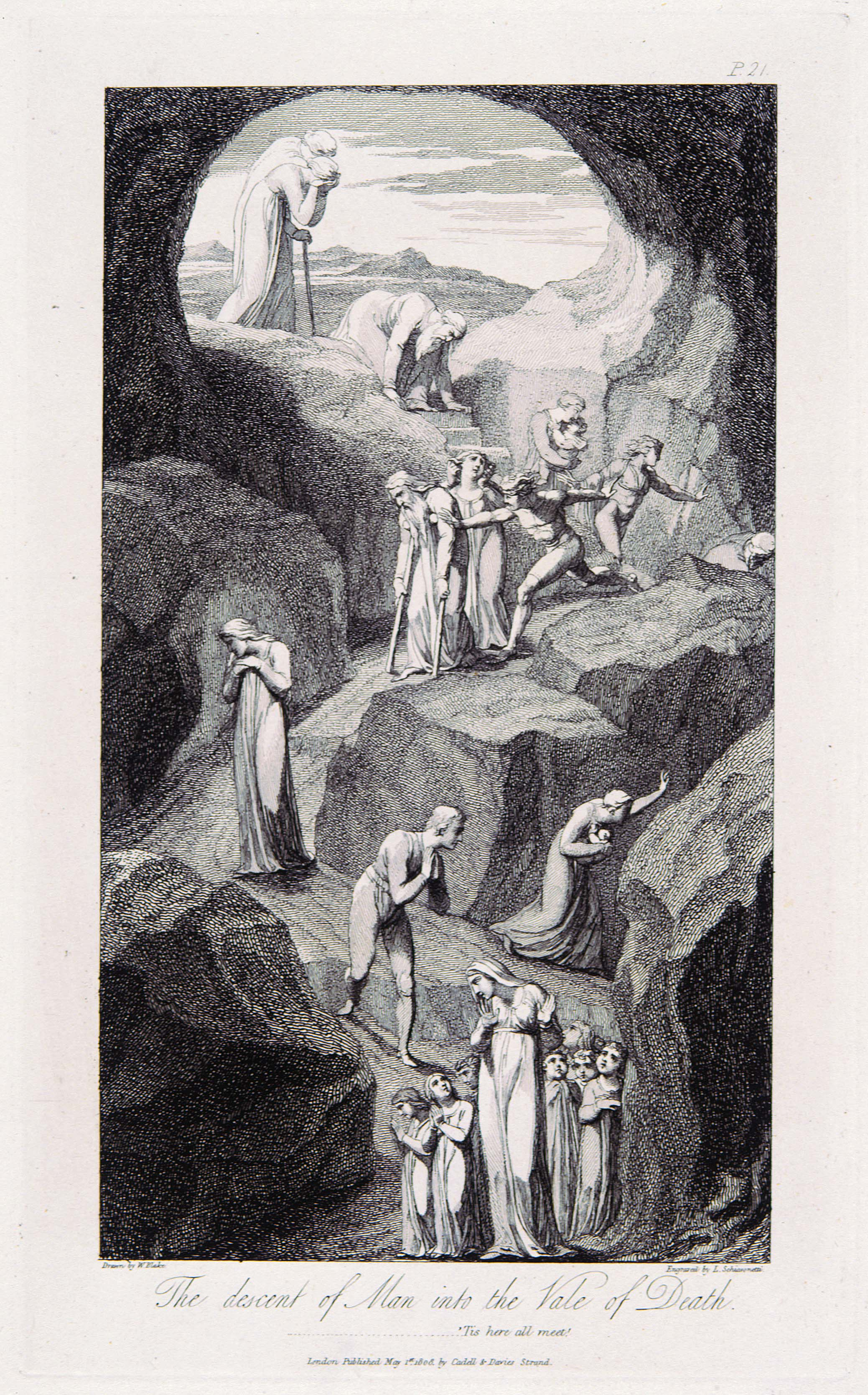 P.21. Drawn by W. Blake. Etched by L. Schiavonetti. The descent of Man into the Vale of Death.  ...............'Tis here all meet!  London Published May 1st. 1808, by Cadell & Davies Strand.