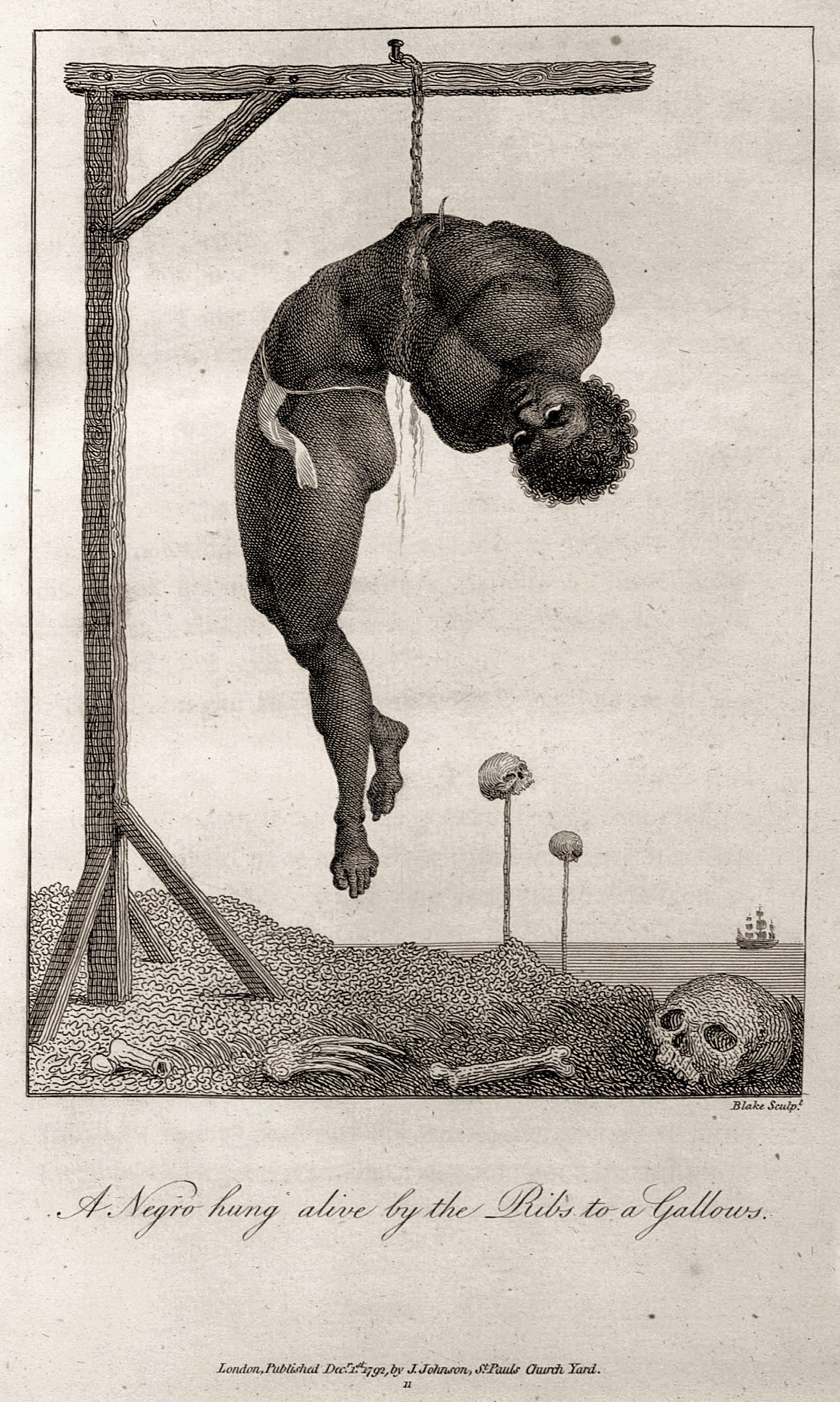 Blake Sculpt. 	A Negro hung alive by the Ribs to a Gallows. 	London, Published Dec.r 1.st 1792, by J. Johnson, St. Pauls Church Yard. 	11