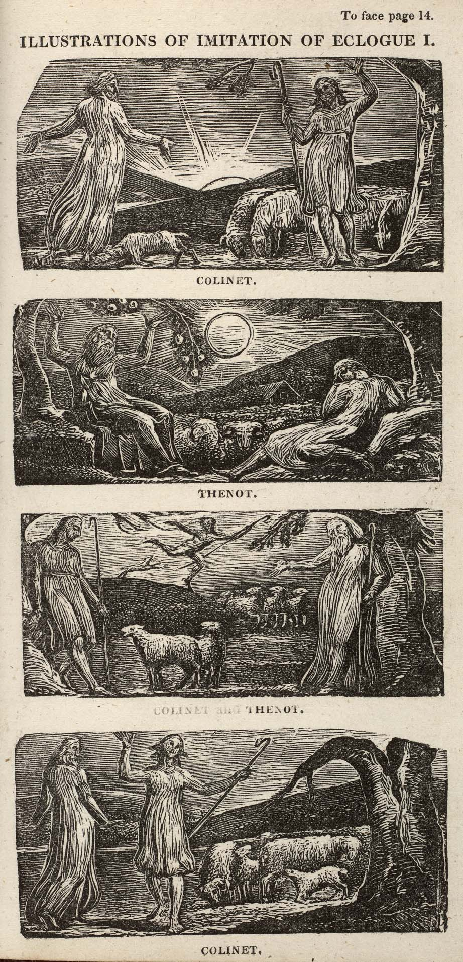 To face page 14. 			ILLUSTRATIONS OF IMITATION OF ECLOGUE I. 			COLINET. 			THENOT. 			COLINET and THENOT. 			COLINET.