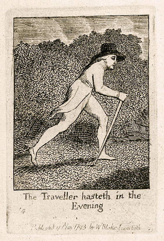 The Traveller hasteth in the 	Evening 	14 	Publishd 17 May 1793 by WBlake Lambeth
